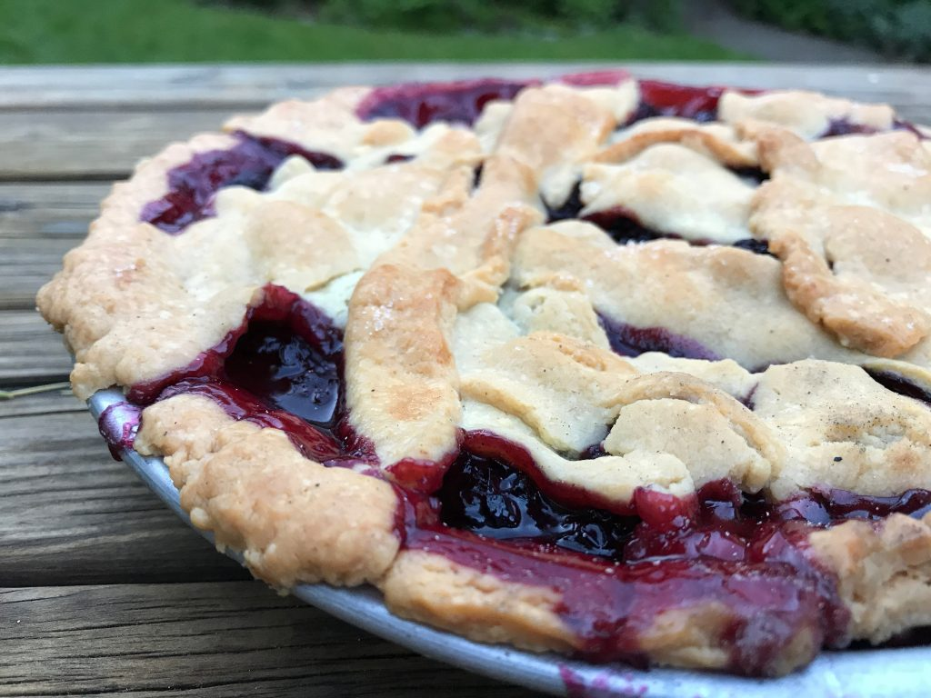 black and blueberry dutch oven pie